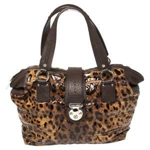 Dolce & Gabbana Beige/Brown Leopard Print Patent Leather Miss Very Sexy Satchel