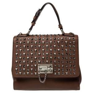 Dolce & Gabbana Brown Leather Medium Monica Studded Top Handle Bag