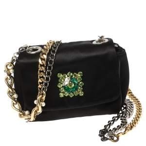 Dolce & Gabbana Black Satin Crystal Embellished Multi Chain Crossbody Bag