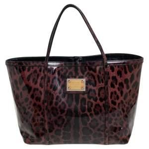 Dolce & Gabbana Black/Purple Leopard Print Patent Leather Miss Escape Tote