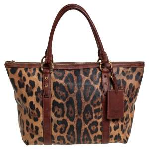Dolce & Gabbana Brown Leopard Print Coated Canvas Animalier Shopper Tote