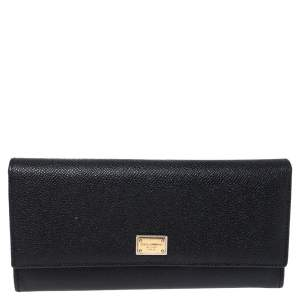 Dolce & Gabbana Black Leather Dauphine Continental Wallet