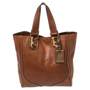 Dolce & Gabbana Brown Leather Miss Exotic Tote