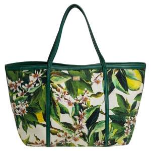 Dolce & Gabbana Green Floral Print Canvas and Leather Miss Escape Tote