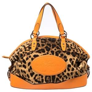Dolce & Gabbana Orange/Brown Animal Print Canvas and Leather Animalier Satchel