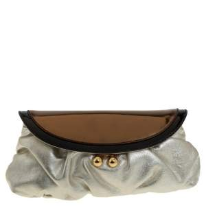 Dolce & Gabbana Gold/Black Patent and Leather Miss Pretty Lock Clutch