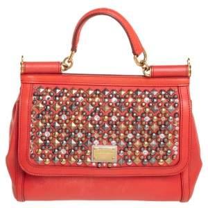 Dolce &Gabbana Orange Leather Embellished Miss Sicily Top Handle Bag