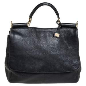 Dolce & Gabbana Black Leather Large Miss Sicily Soft Top Handle Bag