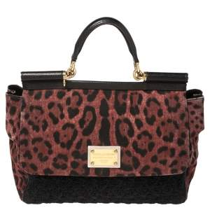 Dolce & Gabbana Black/Burgundy Leopard Print Canvas and Crochet Sicily Top Handle Bag
