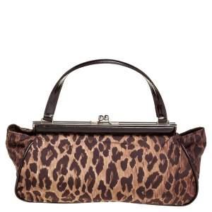 Dolce & Gabbana Brown Leopard Print Fabric Clutch