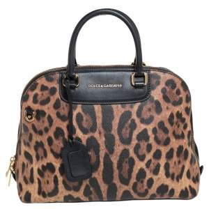 Dolce & Gabbana Black/Brown Animal Print Coated Canvas and Leather Megan Dome Satchel