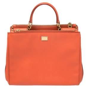 Dolce & Gabbana Orange Leather Miss Sicily Double Zip Top Handle Bag