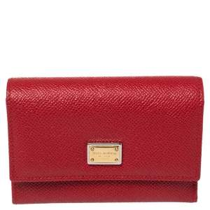 Dolce & Gabbana Red Leather Trifold Wallet