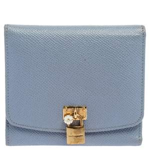 Dolce & Gabbana Blue Leather Padlock Trifold Compact Wallet