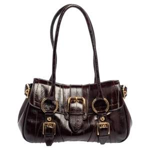 Dolce & Gabbana Burgundy Leather Buckle Embellished Satchel