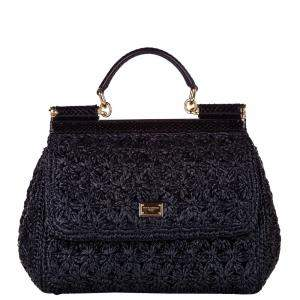 Dolce & Gabbana Black Raffia Medium Miss Sicily Top Handle Bag
