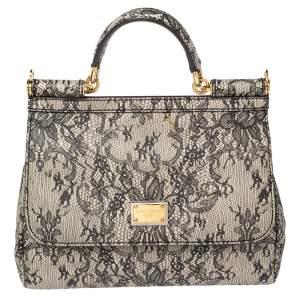 Dolce & Gabbana Beige/Black Lace Print Leather Medium Miss Sicily Top Handle Bag