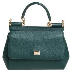 حقيبة دولتشي أند غابانا ميس سيسيلي صغيرة يد علوية جلد أخضر