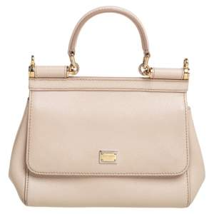 Dolce & Gabbana Beige Leather Small Miss Sicily Top Handle Bag