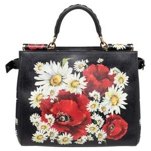 Dolce & Gabbana Black Floral Print Leather Small Miss Sicily Top Handle Bag