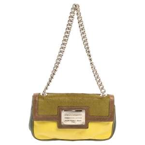 Dolce & Gabbana Multicolor Leather and Calfhair Miss Sexy Baguette Bag