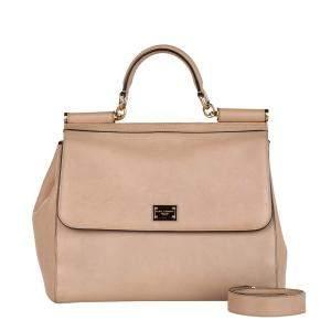 Dolce & Gabbana Brown/Beige Leather Miss Sicily Top Handle Bag