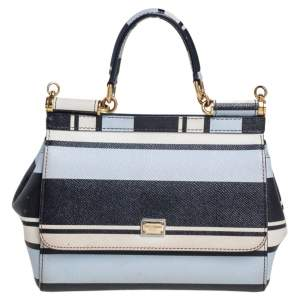 Dolce & Gabbana Multicolor Striped Leather Small Miss Sicily Top Handle Bag