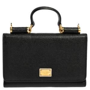 Dolce & Gabbana Black Leather Sicily Von Wallet on Chain