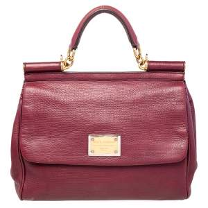 Dolce & Gabbana Burgundy Leather Large Miss Sicily Top Handle Bag