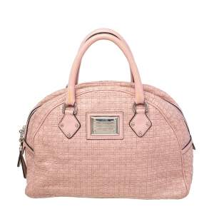 Dolce & Gabbana Rose Pink Woven Leather Miss Biz Satchel