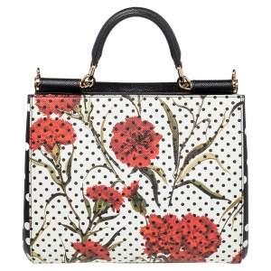 Dolce & Gabbana Black/White Polka Dot Floral Print Leather Medium Miss Sicily Top Handle Bag