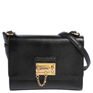 Dolce & Gabbana Blacl Lizard Embossed Leather Miss Monica Shoulder Bag