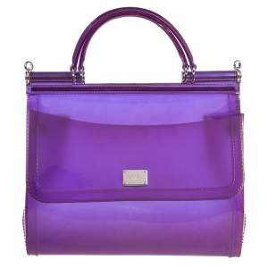 Dolce & Gabbana Purple PVC Medium Miss Sicily Top Handle Bag