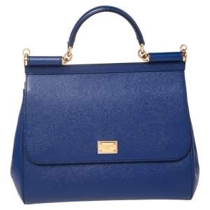 Dolce & Gabbana Blue Leather Medium Sicily Top Handle Bag