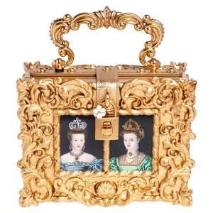Dolce & Gabbana Gold Acrylic and Leather Dolce Box Regine Bag