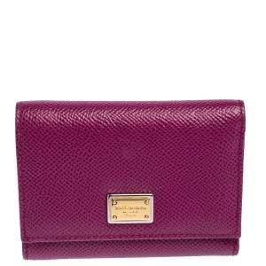 Dolce & Gabbana Purple Leather Trifold Wallet