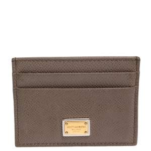 Dolce & Gabbana Brown Grained Leather Card Holder