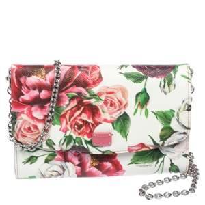 Dolce & Gabbana Pink Peony Print Leather Wallet On Chain