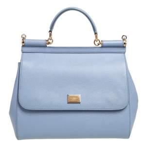 Dolce & Gabbana Sky Blue Leather Large Miss Sicily Top Handle Bag