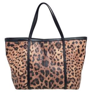 Dolce & Gabbana Black/Beige Leopard Print Coated Canvas and Leather Miss Escape Tote