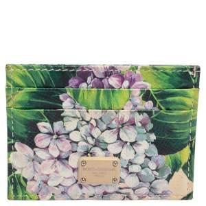 Dolce & Gabbana Multicolor Floral Print Leather Card Holder