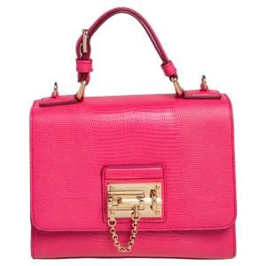 Dolce & Gabbana Pink Lizard Embossed Leather Small Miss Monica Top Handle Bag