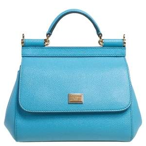 Dolce & Gabbana Sky Blue Leather Mini Miss Sicily Top Handle Bag