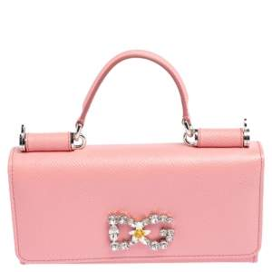 Dolce & Gabbana Pink Leather Miss Sicily Von Crystal Embellished Wallet On Chain