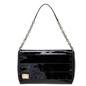 Dolce & Gabbana Black Patent Leather Miss Martini Shoulder Bag