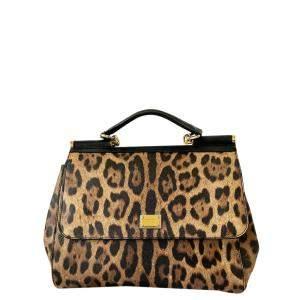Dolce & Gabbana Leopard Print Leather Miss Sicily Top Handle Bag
