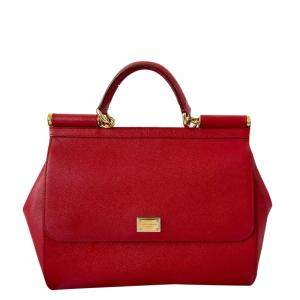 Dolce & Gabbana Red Leather Miss Sicily Large To Handle Bag