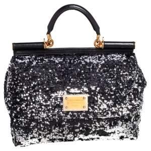 Dolce & Gabbana Black Sequin Miss Sicily Top Handle Bag