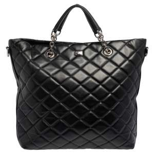 Dolce & Gabbana Black Quilted Leather Chain Shopper Tote