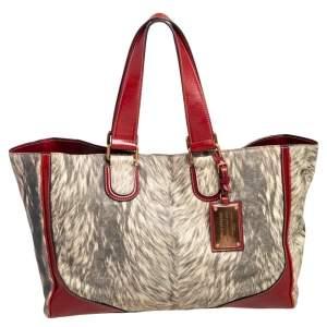 Dolce & Gabbana Brick Red/Cream Printed Leather Miss Exotic Shopper Tote
